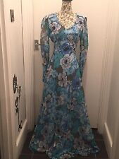 Peterson Maid Vintage fitted floaty Maxi Dress Turquoise size 10