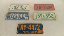 ( 5 ) 1968 Post Cereal Wheaties State Mini Bicycle License Plates NY OK ID CT LA