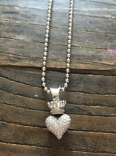 King Baby Studio CZ Crowned Heart Necklace And Chain