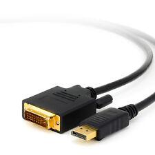 2m Displayport - DVI Kabel   Display Port auf DVI-D Stecker   DP Adapter schwarz