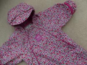 🌺 JOJO MAMAN BEBE 🌺 Waterproof Fleece Lined All In One SNOWSUIT 6-9m PinkDitsy