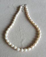 Collier Court Ras du Cou Perle de Culture Blanc Baroque Nacre Original Chic TZ7