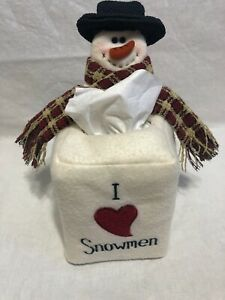 Christmas Tissue Box Cover Holder Square Winter Snowman
