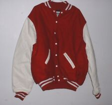 *NEW* LEADER RED & WHITE HEAVY Leather Sleeves Wool & QUILTED Varsity Jacket 5XL