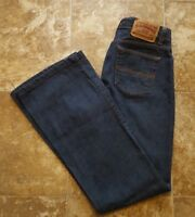 Womens Express Hipster Flare Blue Denim Jeans 3/4 regular dark wash