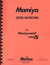 Mamiya RB-67 Pro S, RB67 Pro-S Camera Service & Repair Manual