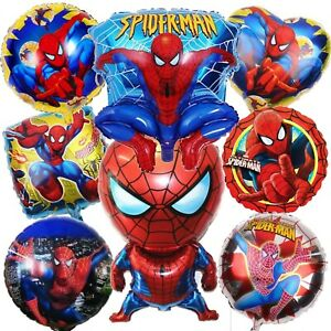 Spiderman Birthday Balloons Party Decorations Foil Bouquet Avengers Latex Number