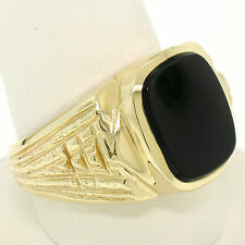Men's 14k Solid Yellow Gold w/ Polished Bezel Cushion Onyx Solitaire Band Ring