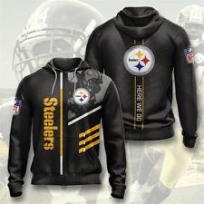 Pittsburgh Steelers Men's Hoodie Sweatshirt Full Zip Hooded Coat Casual Jacket