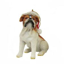 Bulldog w/Santa Hat Ornament