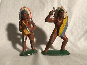 Barclay Native American Warriors Manoil Lead Indian Figures Pair