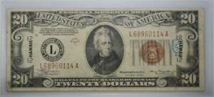 1934 A $20 Hawaii Emergency Issue Federal Reserve Note No Reserve 99C Open Bid