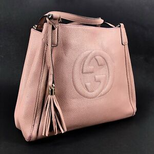 Authentic GUCCI SOHO Bag Disco Shoulder Stamped Leather Bag ITALY 282309 852017