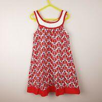 Little Leona Dress Girls Size 6 Red Owl Print Sleeveless