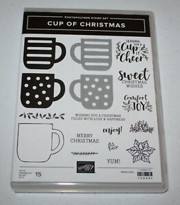 Stampin Up Retired Photopolymer CUP OF CHRISTMAS Coffee Latte Cocoa Poinsettia