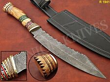 "15"" Custom made Damascus Steel TANTO BOWIE Hunting Knife With olive Wood Handle."