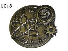 steampunk brooch badge bronze cog atomic clock watch silver atom science #lc18