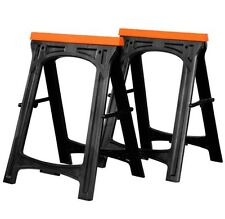 Work Folding Trestle Plastic Heavy Duty Twin Pack Saw Horse Cutting Stands Bench