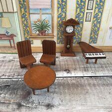 Miniature Dolls House Wooden Furniture Bundle Grandfather Clock Piano etc