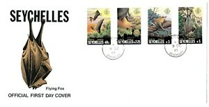 SEYCHELLES - FLYING FOX (FRUIT BAT) 1981 Set of 4 stamps on First Day Cover