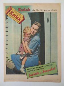 Vintage Australian advertising 1947 ad KODAK VERICHROME FILM mother daughter art