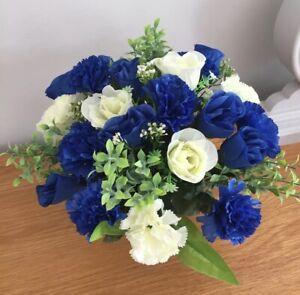 Artificial Silk Rose Grave Pot Flower Arrangement Blue & Ivory Tribute