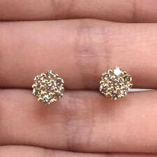 10k Yellow Gold Natural Diamond Flower Stud Earrings