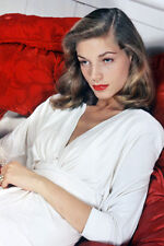LAUREN BACALL 24X36 PHOTO POSTER STUNNING COLOR GLAMOUR POSE IN WHITE DRESS