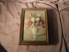 Vintage Ornate Painted Gold Tone Wood Floral Top Jewelry Trinket Box with Mirror