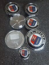 7 Pièce Rouge & Noir Carbone Véritable Badge Set pour BMW-Uv Resin 82+74+45+ 4X68 mm
