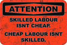 Funny Toolbox Workshop Warning Stickers - Skill Labour Isnt Cheap