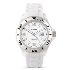 Mens Sekonda white rubber strap and date window watch 3362