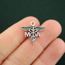 4 Medical Assistant Charms Antique Silver Tone MA Medical Charms - SC5611