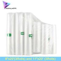 "6Pack 8""x20' Rolls,11""X20' Rolls for Food Saver Universal Vacuum Sealer Bags"