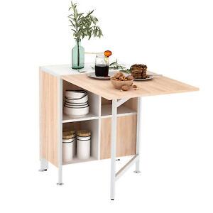 HOMCOM Klapptisch Esstisch Holz Metall Küche Wohnzimmer Natur+Weiß