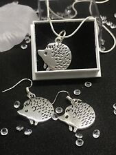 Hedgehog Jewellery Set Solid Silver Earrings And Necklace - Hedgehog Charms