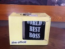 THE OFFICE WORLD'S BEST BOSS BLACK CERAMIC COFFEE MUG CUP NIB