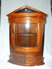 Antique Bow Front Mahogany 18-19Century curved beveled glass Wall Corner Cabinet