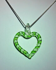 Murano Glass Heart Pendant in Green on 925 Sterling Silver Necklace