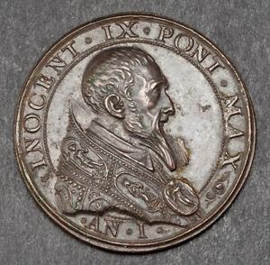 1591, Papal States, Vatican, Innocent IX. Beautiful Bronze Annual Medal. XF-AU!
