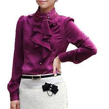 Shirt Womens Silky Winter Satin Dress Blouse Elegant Fashion Top Sz 12 Dark Purple 10
