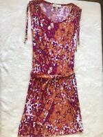 Women's $85 Michael By Michael Kors Cap Sleeve Pink Orange Midi Dress W/Belt XS