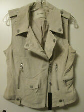 "Blank NYC Suede Leather Motorcycle ""Moto"" Style Jacket Vest Cream Beige Sz M NWT"