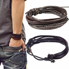 New Leather Wrap Braided Wristband Cuff Punk Men Women Hot Bracelet Bangle