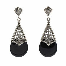 Sterling Silver Marcasite Black Onyx Teardrop Shaped Earring