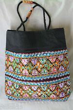 Diseñador de gran tamaño hecho a mano Vintage INDIO BANJARA Gitano Boho Hippy Seda Bolso de mano