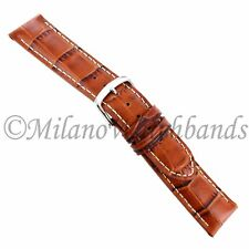 20mm Hadley Roma Tan White Stitched Padded Alligator Grain Mens Watch Band 834