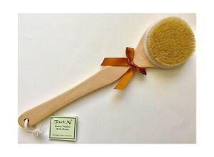 Deluxe Dry Skin Body Brush 100% Natural Boar Bristle Long Handle Wooden Bath ...