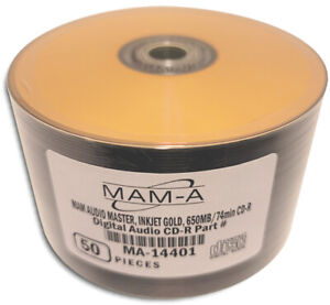 50-Pak MAM-A AUDIO MASTER Digital-Audio GOLD INKJET/GOLD 74-Min Archival CD-R's