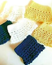 Lot of 6 Doll Skirts Clothing Handmade Handcraft Crocheted Yarn Yellow Blue Wht
